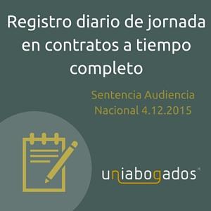 Obligación de registro diario de jornada en los contratos a tiempo completo