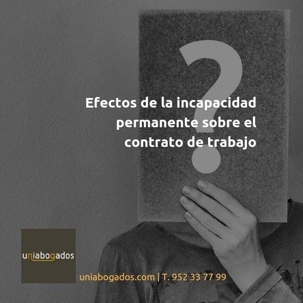 Efectos de la incapacidad permanente sobre el contrato de trabajo