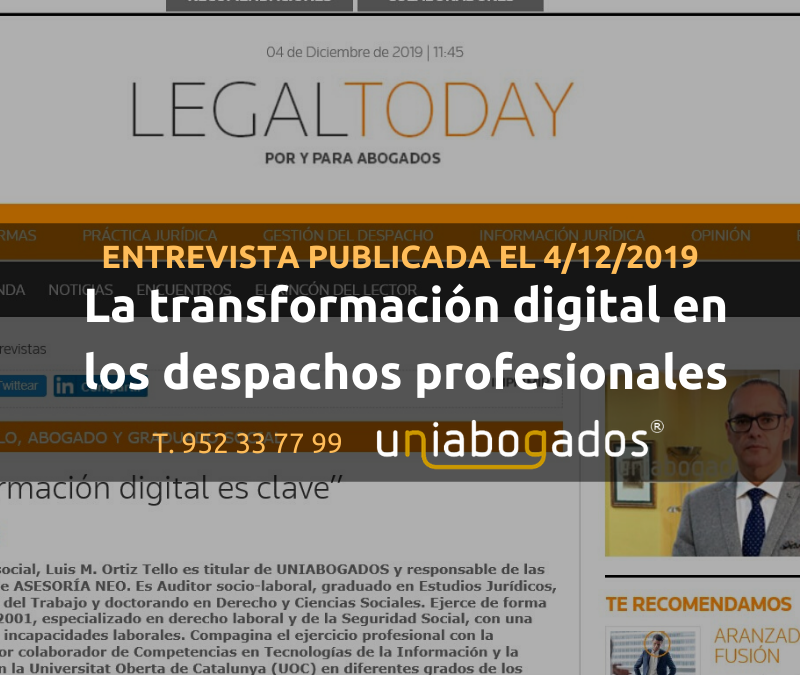Entrevista a Luis Manuel Ortiz Tello en Legal Today